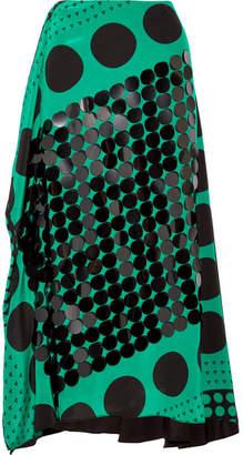 Diane von Furstenberg Embellished Printed Silk Crepe De Chine Midi Skirt - Forest green