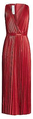 Valentino Women's V-Neck Pleated Leather Maxi Dress