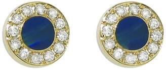 Jennifer Meyer Diamond Opal Inlay Circle Stud Earrings - Yellow Gold
