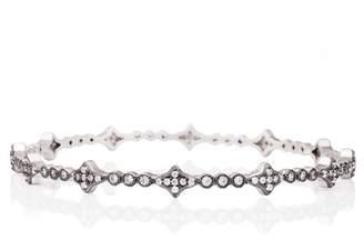 Freida Rothman Platinum Rhodium & Black Rhodium Plated Pave CZ Star Bangle Bracelet