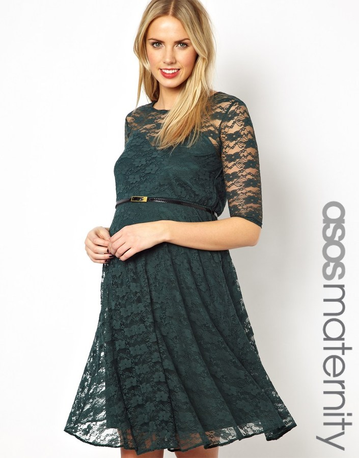 Asos Lace Skater Dress With Belt And 1/2 Sleeve