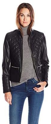 Kenneth Cole Women's Faux Leather Quilted Jacket $79.99 thestylecure.com