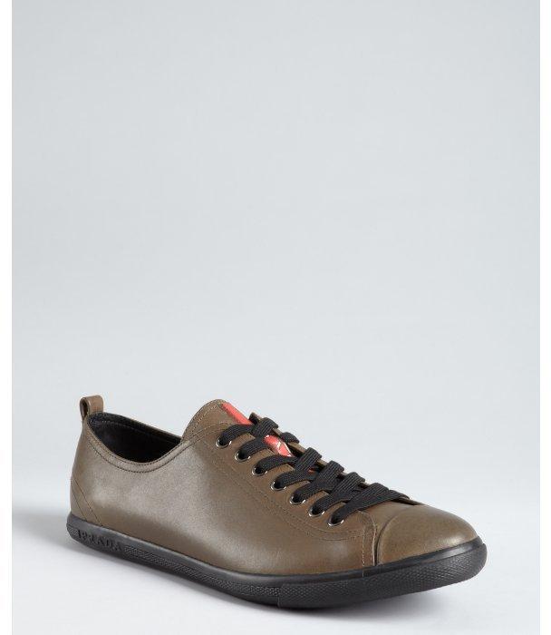 Prada Sport brown leather cap toe sneakers