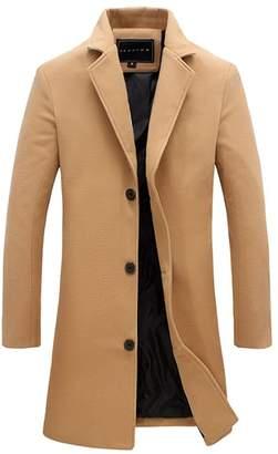 QZUnique Men's Fashion Simple Slim Fit Lapel Collar Casual Wool Coat