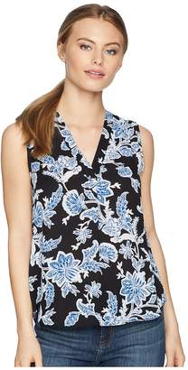 Vince Camuto Specialty Size Petite Sleeveless Exotic Woodblock Floral V-Neck Blouse Women's Clothing