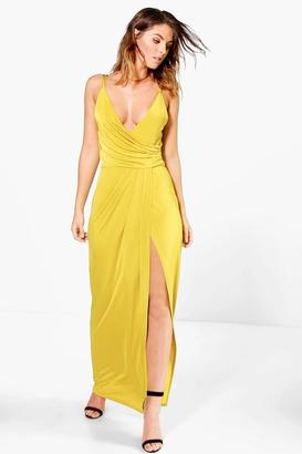 boohoo Ria Draped Wrap Thigh Split Maxi Dress $37 thestylecure.com