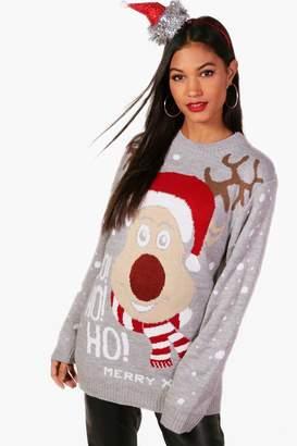 boohoo Sasha 'Ho Ho Ho' Reindeer Christmas Jumper