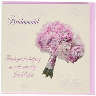 DAY Birger et Mikkelsen WHITE COTTON CARDS Bridesmaid Thank You For Helping Us Make Our Just Perfect Wedding Handmade Card with Bouquet, White