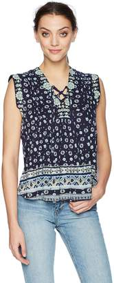 Lucky Brand Women's LACE UP Printed TOP