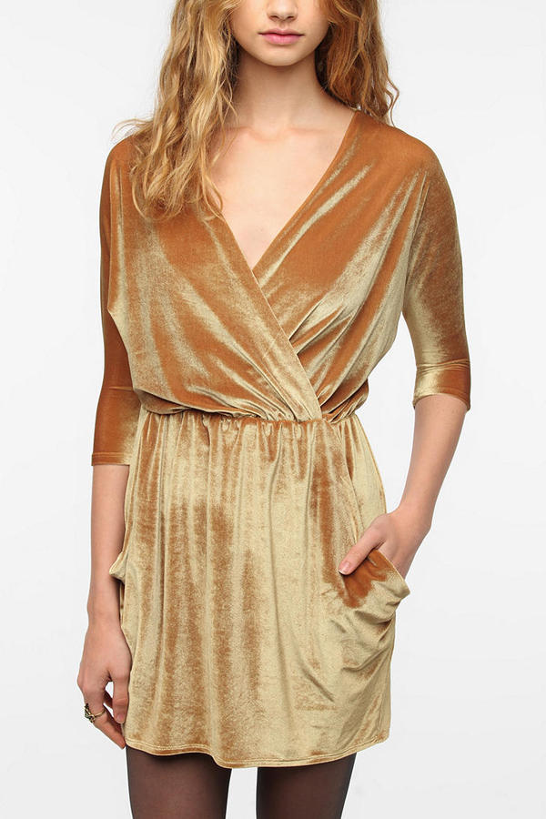 Urban Renewal Velvet Surplice Dress