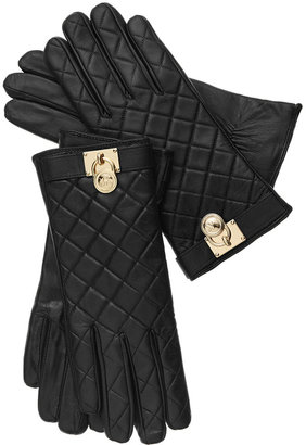 MICHAEL Michael Kors Quilted Leather Hamilton Lock Gloves with Touch Tips $98 thestylecure.com