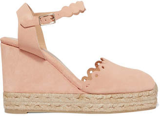 Castañer - Caterina Scalloped Cutout Suede Wedge Espadrilles - Blush $210 thestylecure.com