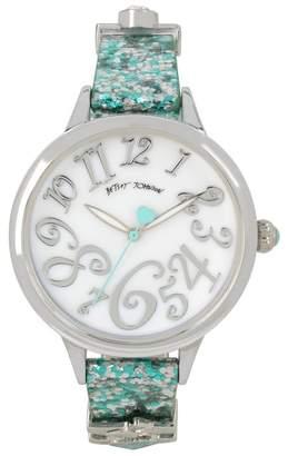 Betsey Johnson Women's Blue Print Charm Watch, 38mm