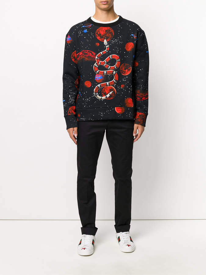 Gucci bee embroidered classic chinos