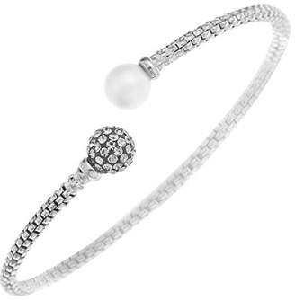Silver Cross Ornami Glamour Sterling Silver Opposing End Torque Bangle with Pearl and Crystal Bead