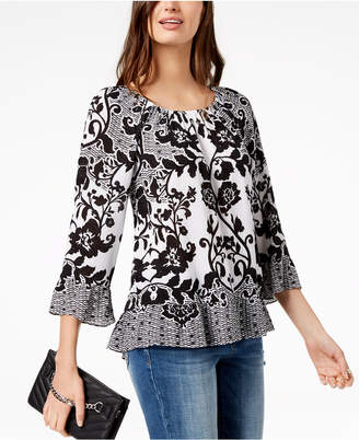 INC International Concepts I.N.C. Printed Bell-Sleeve Top, Created for Macy's