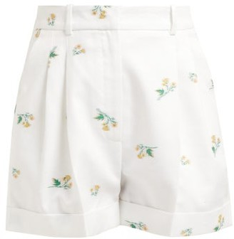 Racil Max Floral Cotton Blend Twill Shorts - Womens - White Multi