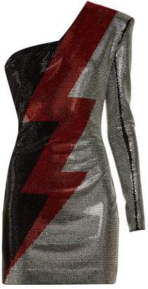 Balmain One Shoulder Crystal Embellished Dress - Womens - Silver Multi