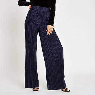 River Island Womens Navy plisse wide leg trousers