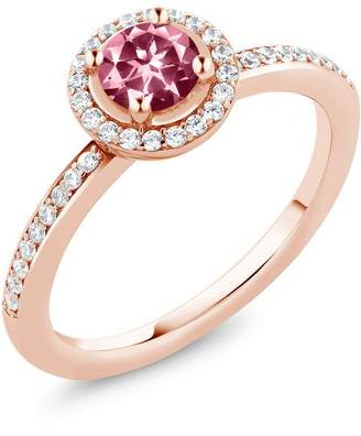 Swarovski Gem Stone King 0.84 Ct 18K Rose Gold Plated Silver Ring Made With Round Pink Topaz