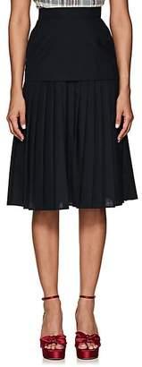Thom Browne Women's Pleated Worsted Wool Knee-Length Skirt - Navy