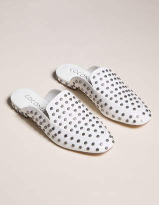 Coconuts Kitty White Studded Womens Mule Flats