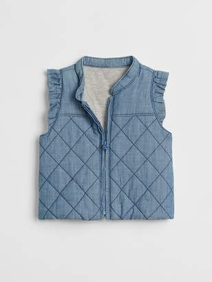 Gap Chambray Jersey-Lined Vest