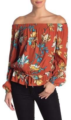 Karen Kane Tie Front Off-the-Shoulder Blouse