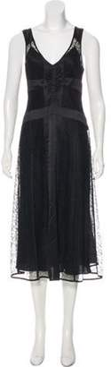 DKNY Lace-Accented Midi Dress Black Lace-Accented Midi Dress
