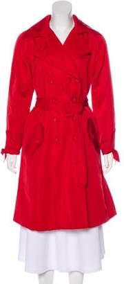 Oscar de la Renta Belted Silk-Blend Coat