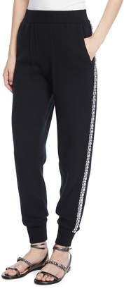 Michael Kors Cashmere Crystal-Striped Joggers