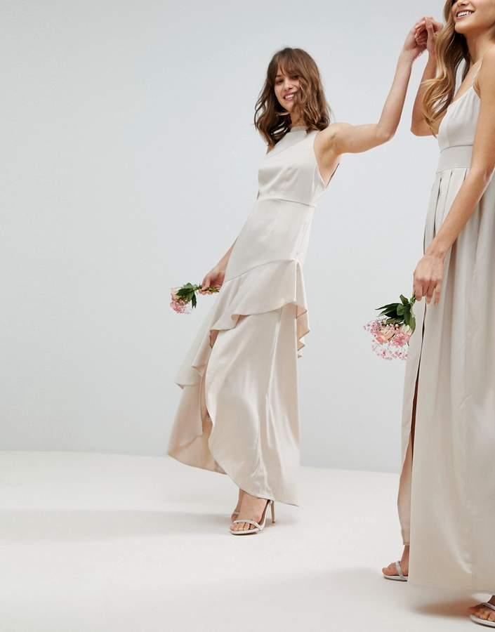 Asos Design Bridesmaid Satin Ruffle Hem Pinny Bodice Maxi Dress