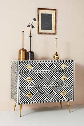 Anthropologie Optical Inlay Three-Drawer Dresser