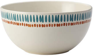 Rachael Ray Cucina Sun Daisy Dinnerware 5.5-Inch Agave Blue and Pumpkin Orange Stoneware Cereal Bowl