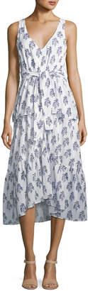 A.L.C. Judd V-Neck Sleeveless Belted Tiered Cotton Dress
