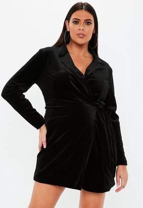Missguided Plus Size Black Velvet Tie Side Blazer Dress
