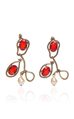 Marni Earrings with Glass and Pearls