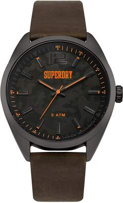 Superdry Men's 'Military Camo' Quartz Silver-Tone and Leather Casual Watch, Color:Brown (Model: SYG209BR)