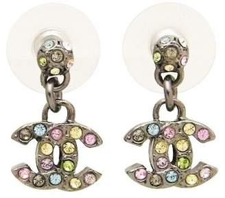 Chanel CC Logo Silver Tone Metal & Rhinestone Dangle Stud Earrings