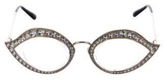 Gucci Crystal-Embellished Metal Eyeglasses
