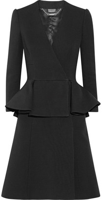 Alexander McQueen - Double-breasted Wool And Silk-blend Peplum Coat - Black