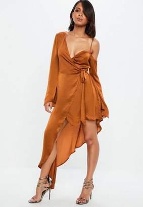 Missguided Rust Asymmetric Long Sleeve Satin Maxi Dress