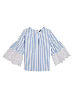 Oscar de la Renta Awning Striped Cotton Bell-Sleeve Blouse