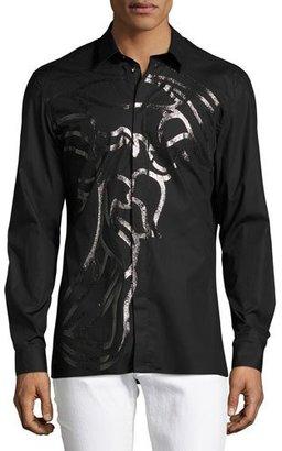 Versace Collection Enlarged Metallic Medusa Sport Shirt, Black $450 thestylecure.com