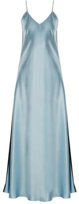 Racil - Geiko V Neck Silk Satin Slip Dress - Womens - Blue Multi