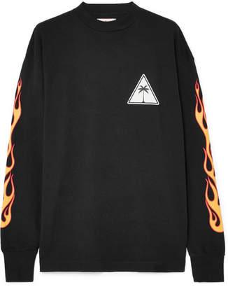 Palm Angels Printed Cotton-jersey Sweatshirt - Black