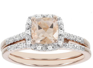 MODERN BRIDE Blooming Bridal Genuine Cushion-Cut Morganite and Diamond 14K Rose Gold Bridal Ring Set $2,333 thestylecure.com
