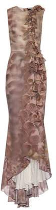 Giles Foxglove-print and embellished silk gown