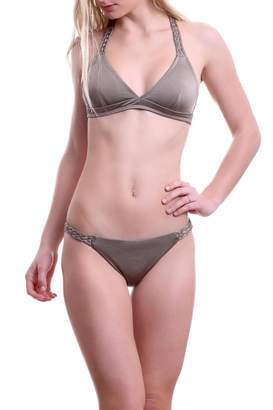 Zoë Bikini Bella Braid Halter Swim Gold Top $78 thestylecure.com