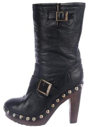 Jimmy Choo Leather High-Heel Boots Black Leather High-Heel Boots